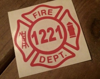 Custom/Personalied Vinyl Fireman Maltese Cross Car Decal With Badge Number-Firefighter-Red-Fire Department-Hero-Window Decal-Firemen-Fire