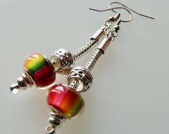 Drop Earrings, European Bead, Silver Plated