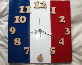 Wooden Pallet Clock with French Flag