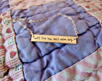 """Handwritten Bar Necklace (1.2"""" x .2"""") Your Handwriting Rose Gold Yellow Gold Sterling Silver Personalized Gift Mom"""