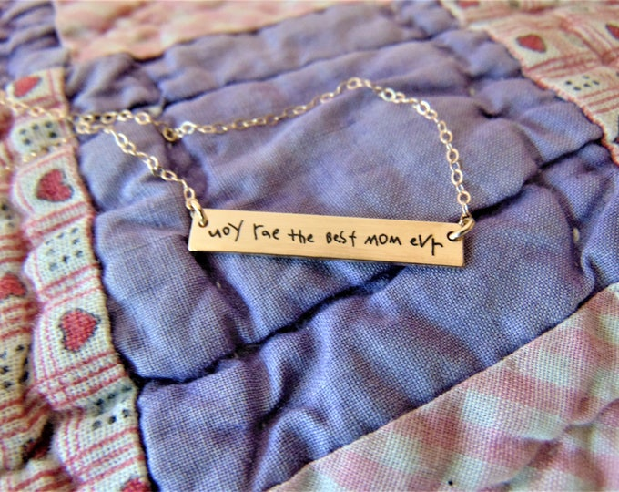 "Handwritten Bar Necklace (1.2"" x .2"") Your Handwriting Rose Gold Yellow Gold Sterling Silver Personalized Gift Mom Christmas gift"