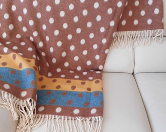 Cotton woven Blanket, Bilateral Plaid, Bedspread, Bed cover, brown polka dots, milky, turquoise
