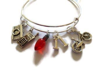 stranger things gift, stranger things bangle, fan gift jewellery, stranger bracelet, stranger bangle, xmas light bulb, eleven gift,  fandom