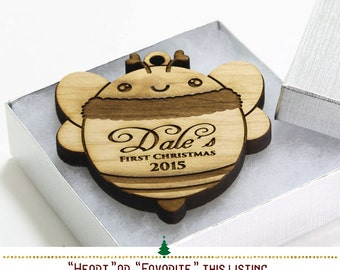 Bumble Bee Christmas Ornaments Personalized, Babys First Christmas, Personalized Baby Gifts, Baby Decor, Woodland Animals SKU#352