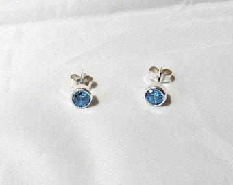 4mm Bezel Set Aquamarine Sterling Silver Stud Earrings