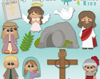He is Raisen Easter Digital Clipart - Clip art for scrapbooking, party invitations - Instant Download Clipart Commercial Use