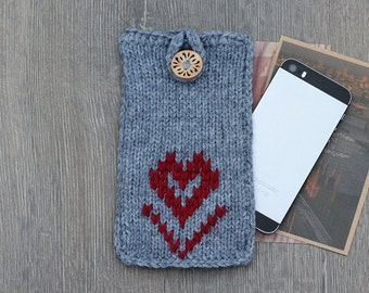 Valentines Day Gift iPhone 7 Plus Knit Case, Knit iPhone 6s Cover, Gray Phone Cozy iPhone Sleeve, iPhone 5 Sock Case iPhone 6s Samsung Sock