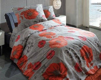 Flowers Poppies Red Grey bedding Twin bedding set - Full\Queen bedding set - single bedding set - duvet cover set