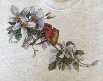 Beautiful CARDINAL BIRDS Sitting on White Magnolia Flowers Branch~ Blue Ash Sweatshirt~ L