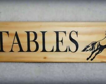 Stables...handmade personalised wood sign / plaque with horse motif