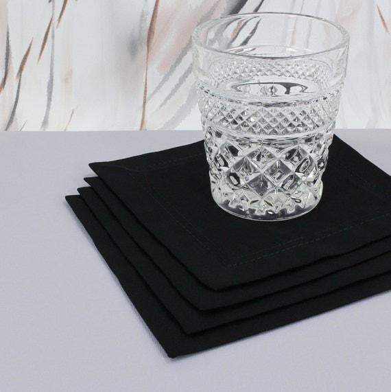 Black Cocktail Napkins : Black cocktail napkins cotton cloth party