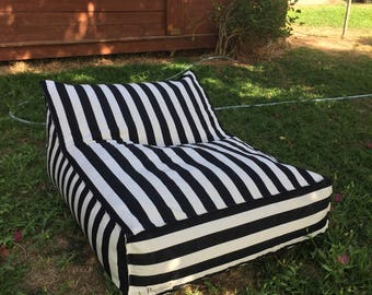 OUTDOOR FURNITURE, outdoor bean bag chair,black and white striped fabric, bean bag chair, outdoor pillows,patio furniture,home decor