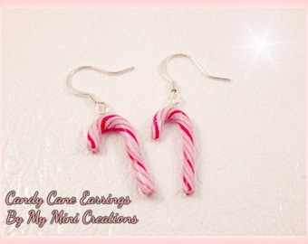 Candy Cane Earrings, Polymer Clay, Miniature Food, Miniature Food Jewelry