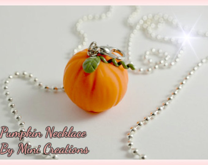 Pumpkin Necklace, Miniature Food, Miniature Food Jewelry, Food Jewelry