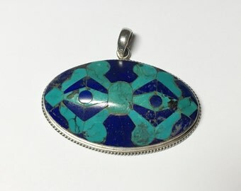 Vintage lapis and turquoise pendant large 925 sterling silver