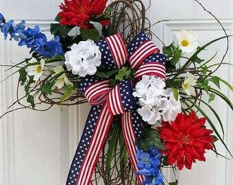 Patriotic Door Decor - Patriotic Memorial Cross - Patriotic Cemetery Cross - Memorial Day Cross - Memorial Day Wreath - Red White Blue Door