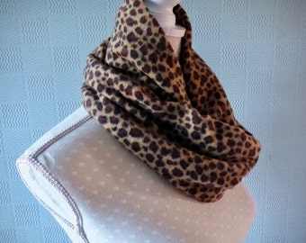 Animal print snood, fleece cowl loop scarf, fleece neckwarmer, animal print snood scarf