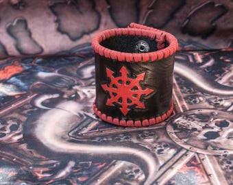 Black Leather Warhammer or Warhammer 40k Chaos Star Cuff