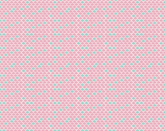 Lulabelle In Pink and Aqua Scallops Coordinating Fabric for the Main Fabric Line in Navy from Riley Blake Designs - listing for 1 Yard