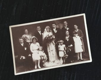 antique Postcard Photograph Sepia Bride Wedding Children 1931 20s 30s 40s