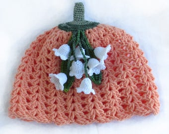 Crochet Summer Hat, Flower Hat, Snowdrops Flower Hat, Crochet Girls Hat, Crochet beanie, Crochet Coral Hat,Crochet Peach Beanie