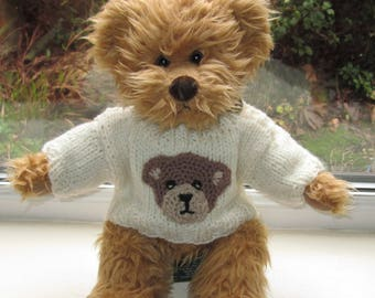 Teddy Bear Clothes, Hand Knitted Cream Aran Teddy Face Motif Sweater/Jumper To Fit A 14 Inch Bear, Dolls Clothes, Ready To Ship/Post