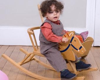 Baby boy shirt in  orange cotton striped kaki