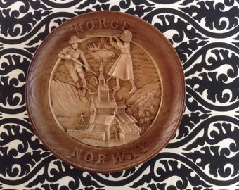 Norway-Norge Carved Wood DecorativPlate, Folkart, Village Scene of Children, Mountain, Moose, Church, Intricate Carving