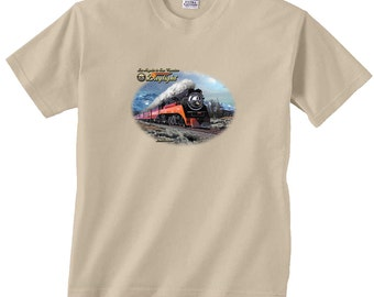Los Angeles to San Francisco Daylight Black Locomotive Train T-Shirt