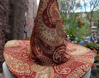 Red and Gold Tapestry Witch or Wizard Hat