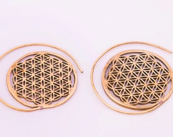 Flower of Life Spiral Earrings, Nautilus Spiral Earrings, Brass Earrings, Tribal Earrings, Gypsy Earrings, Brass Spiral Earrings