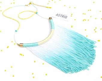 AZURE Sangria // Fringe Necklace, Mint Green Necklace, Sea green Necklace, Tassel Necklace, Statement Necklace, Summer Fas