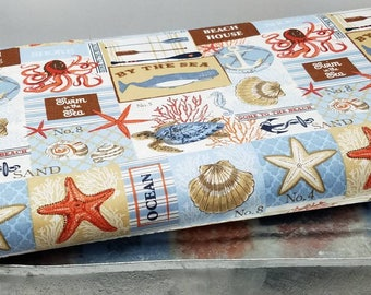 High quality nautical ocean starfish, seashell, beach house,swim at the sea cotton quilting fabric by the 1/2 yard - 44 inches in width
