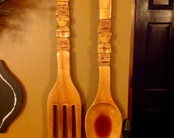 Wooden Kitchen Fork and Spoon Kitchen Wall Decor