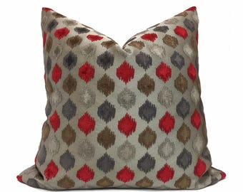 Designer Gray Red Taupe Velvet Ikat Dots Pillow Cushion Zipper Cover, Fits 12x24 or 24x24 Inserts