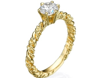 Engagement ring, Diamond ring, Diamond engagement Ring, Solitaire Ring, Twisted ring, 14k Ring, Yellow gold ring, Diamond yellow ring