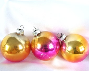 3 Vintage Shiny Brite Christmas Ornaments - Orange, Hot Pink and Gold Ombre Shabby Cottage Christmas Ornaments