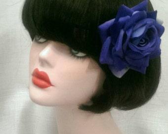 Blue velvet rose hair clip
