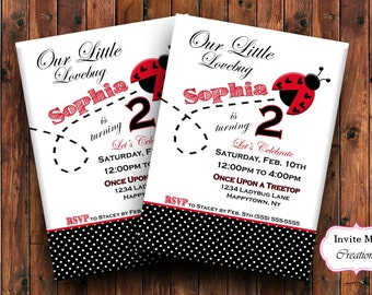 Ladybug Invitation, Lady Bug Invitation, Ladybug Invite, Ladybug Birthday Invite, Valentine Invitation, Birthday Invitation, Digital File