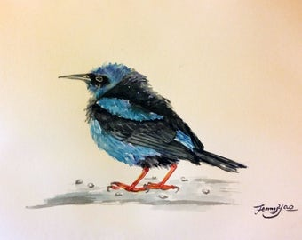 "Original watercolor painting, blue bird II, 8""x10"", 1704119"