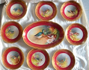 Antique LIMOGES French Porcelain Game BIRD Platter Plate Set 9 Pc Artist Signed Lunis Maroon Gold Gilt Dinner Set