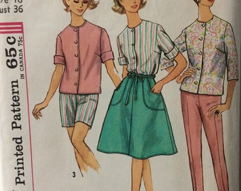 Simplicity 4949 misses blouse, pants and wrap-around skirt size 12 bust 32 or size 16 bust 36 vintage 1960's sewing pattern