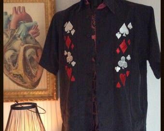 Shirt vintage L (eur) man black patterns card games