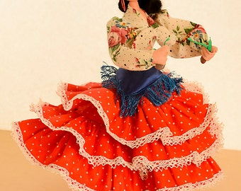 Vintage Spanish Dancer Roldan Fabric Doll