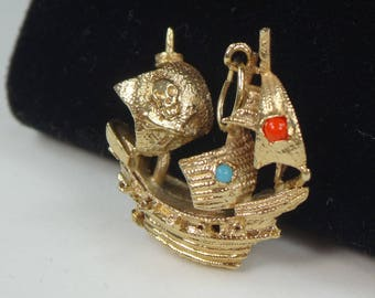 Vintage 14k Gold Pirate Ship Charm Yellow Gold Coral Turquoise Ship Charm 3 Dimensional Ship Skull and Crossbones Pendant Fabulous Detail