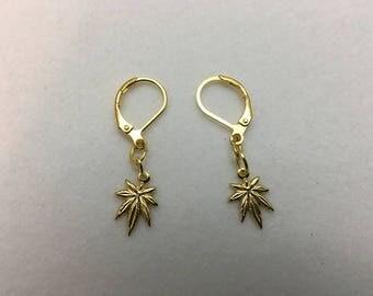 Gold Pot Leaf Earrings (3/4 inch)