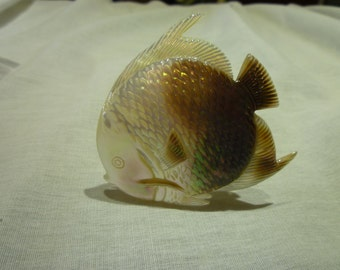 D53 Mother of Pearl Carved Fish.