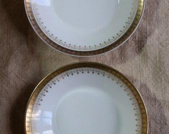Two W GUERIN & CO Limoges White Porcelain Small Plates / Saucers / Butter Pat Dishes with Gold Edging, Made in France