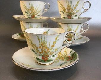 1 of 5 Royal Stafford Antique Broom Bone China Tea Cup and Saucer England