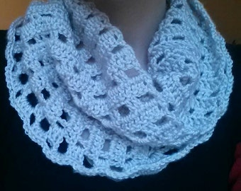 Pink Pearl Crochet Cowl, crochet infinity scarf, handmade accessories